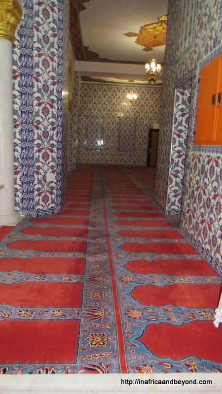 NizamiyeMosqueWalls covered in mosaic, floors covered in prayer mats