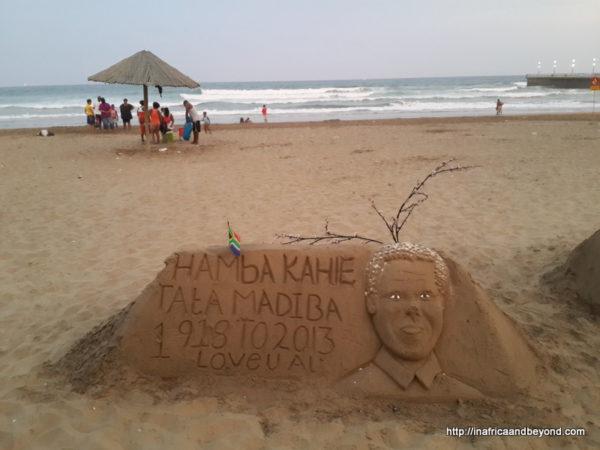Sand art on Durban beachfront