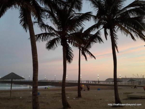 Durban beachfront at sunset