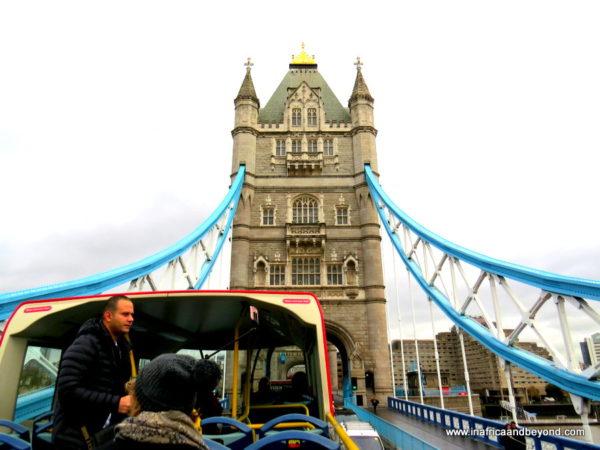 hop-on hop-off bus on Tower Bridge