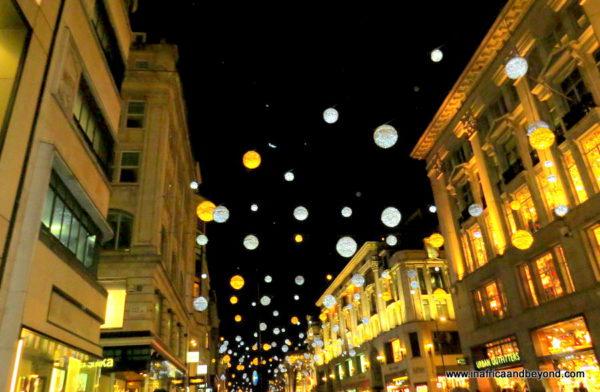 Festive lights on Oxford Street at night