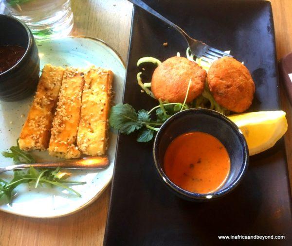 Halloumi cheese and salmon fishcakes Cilantros
