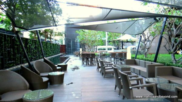 Al fresco dining area Crowne Plaza Bankgkok