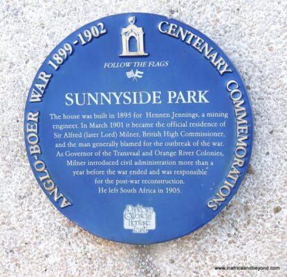 Sunnyside Park Hotel plaque
